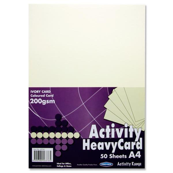 Premier Stationery A4 200 gsm Heavy Activity Card White Pack of 50 Sheets